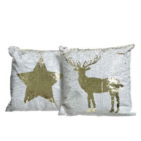 KAE CUSHION STAR/DEER PAGIETES 40X40