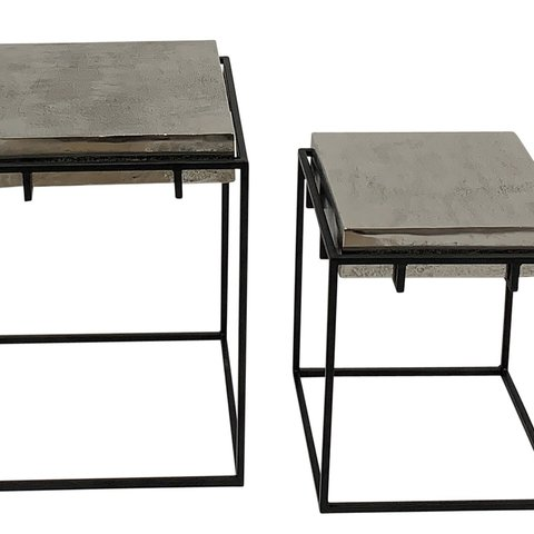 CASA SIDE TABLES SET 2PCS ALUMINIUM/MATT BLACK