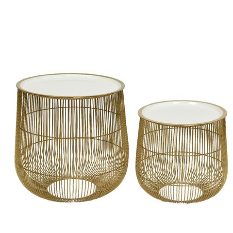 KAE SET SIDE TABLE GOLD WITH WHITE TOP 39X38